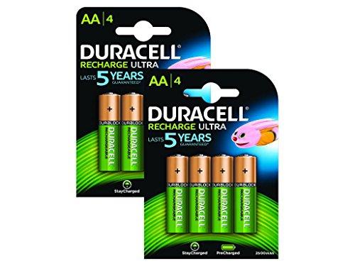 Duracell AA Pack de 8 Piles Rechargeables Pré-Chargées 2500 mAh