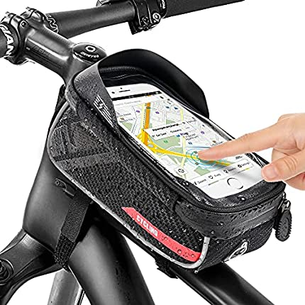 Jooheli Bolsas de Bicicleta, Bolsa Impermeable para Bicicleta con pantalla táctil de TPU, Bolsa Táctil de Tubo Superior Delantero con Orificio para Auriculares para Teléfono Inteligente 6,7