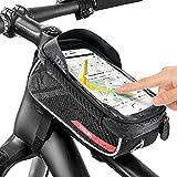 Jooheli Bolsas de Bicicleta, Bolsa Impermeable para Bicicleta con pantalla táctil de TPU, Bolsa Táctil de Tubo Superior Delantero con Orificio para Auriculares para Teléfono Inteligente 6,0