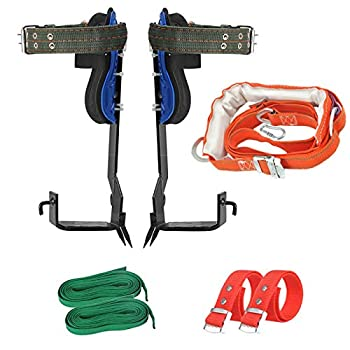 Sookieng Tree Climbing Spikes with Harness Belt 304 Stainless Steel Tree Climbing Tool Pole Climbing Gear Adjustable Climbing Tree Non-Slip Pedal for Hunting Observation Picking Fruit 2 Gear