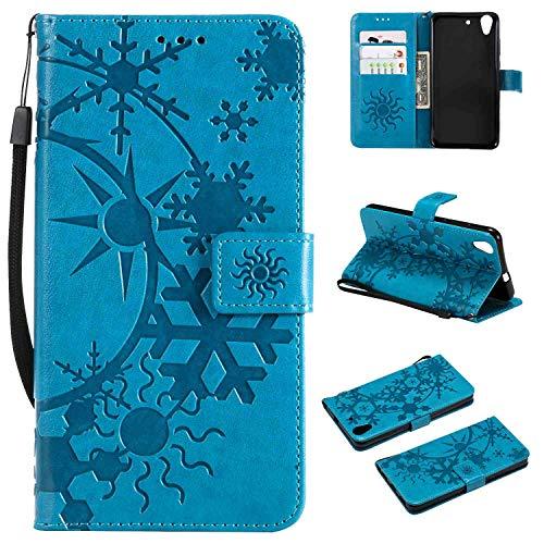 Ycloud PU Cuero Funda para Huawei Y6 II/Honor 5A Cierre Magnético Flip Billetera Soporte Función con Ranuras Diseño Estrellado Gofrado Azul Carcasa