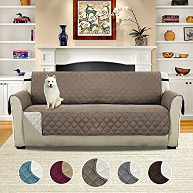 H.VERSAILTEX Pet Friendly Reversible Plush Faux Suede Furniture Protector for Dogs Cats, Features Protect from Pets, Spills, Wear and Tear (Sofa: Taupe/Beige)-75'' X 110''