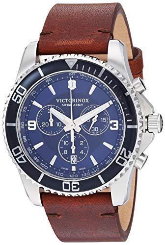 Victorinox 22 - Reloj deportivo de cuarzo suizo de acero inoxidable con correa de piel, color marrón, modelo 241865