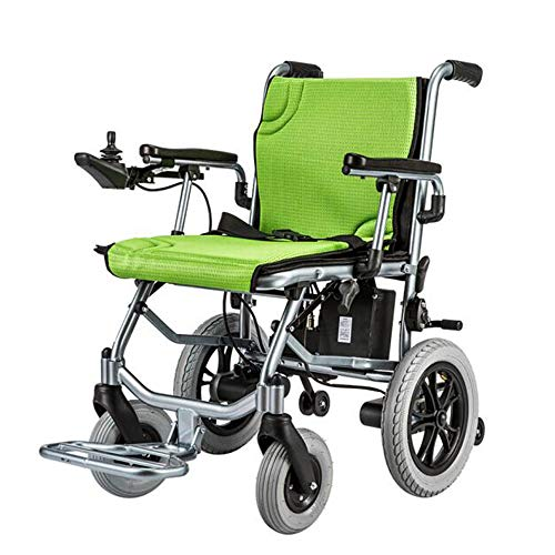 Electric Wheelchairs 14kg,Front and Rear Dual Controllers,Aluminum Alloy Wheelchairs Folding Lightweight,Scooter for The Elderly with Disabilities,12-Mile Range 45cm Wide Seat,Green