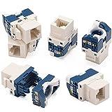 Greluma 6 Piezas Jack Keystone sin herramientas CAT6, conectores hembra RJ45 de 180 grados para placas de pared