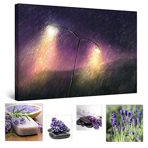 Eco Light Wall Art Bundle sur Toile Purple Rain et léger Abstrait Peinture 80 x 120 cm pour décoration intérieure et Jolie Chambre à Coucher Lavande Collage Lot de 4 encadrée Illustrations.