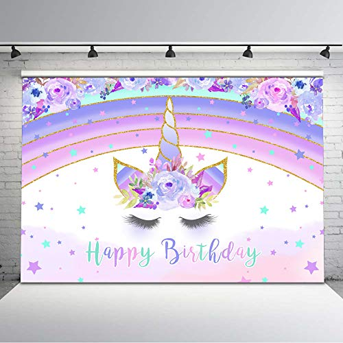 Avezano 7x5ft Rainbow Unicorn Photography Backdrop Purple Floral Pastel Stars Unicorn Birthday Background Vinyl Lavender Unicorn Birthday Party Backdrops Cake Table Decorations