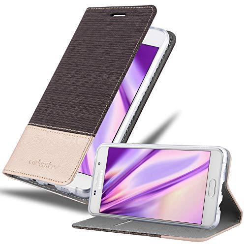 Cadorabo Custodia Libro per Samsung Galaxy A5 2016 in Antracite Oro - con Vani di Carte, Funzione Stand e Chiusura Magnetica - Portafoglio Cover Case Wallet Book Etui Protezione
