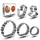 Bonropin Thanksgiving Cookie Cutter Set - 5 Piece Stainless Steel Cutters Molds for Making 3D Turkey,Lovely Little Turkey