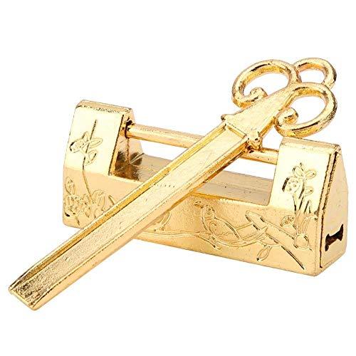 Mini Estilo Chino Tradicional Magpie Flores Candado Cerradura pequeña Llave Para Muebles Vintage Candado Vintage(Gold)