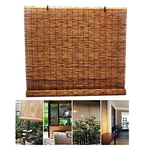 Persiana enrollable de láminas, cortinas enrollables con filtro de luz con cortinas romanas de bambú elevable, cortina retro, impermeable / parasol /aislamiento térmico,para interior,exterior,patio.