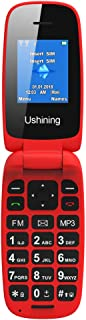 Ushining Unlocked Flip Cell Phone for Seniors,Easy-to-Use,Long Standby time,T-Mobile Card Suitable (Red)