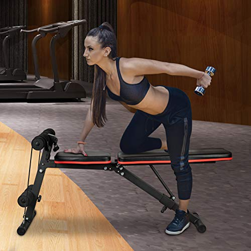 U'King Adjustable Weight Bench - Utility Weight Bench for Full Body Workout- Foldable Flat/Incline/Decline Perfect for Bench Press, Sit-ups, Leg Lifts, Full Body Fitness(Black)