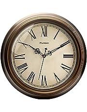 Plumeet Duży zegar ścienny retro, 33-centymetrowy nietykający klasyczny cichy zegar dekoracyjny do salonu, na baterie (cyfry rzymskie)