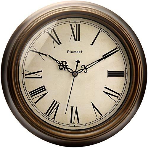 Plumeet Reloj de Pared Retro Grande - Reloj Silencioso Clásico sin Tic-TAC de 33cm - Adecuado para Decorar Sala, Dormitorio, Oficina - Alimentado por Batería (Números Romanos)