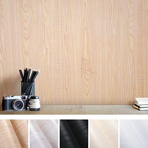 Hout zelfklevende meubelfolie decoratiefolie keukenkast sticker van PVC meubelstickers voor meubels keukenkast tafel (geel, 0,61 * 5 m) Zelfklevend behang. Gelb Holz