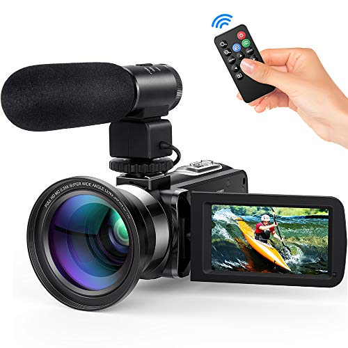 Andoer 4K Digital Videokamera Camcorder Ultra HD 48MP WiFi 3,0 Zoll Touchscreen IR Infrarot Nachtaufnahme 16X Digitalzoom mit 1pc 2500mAh Wiederaufladbare Kamera Akku (Farbe 4)