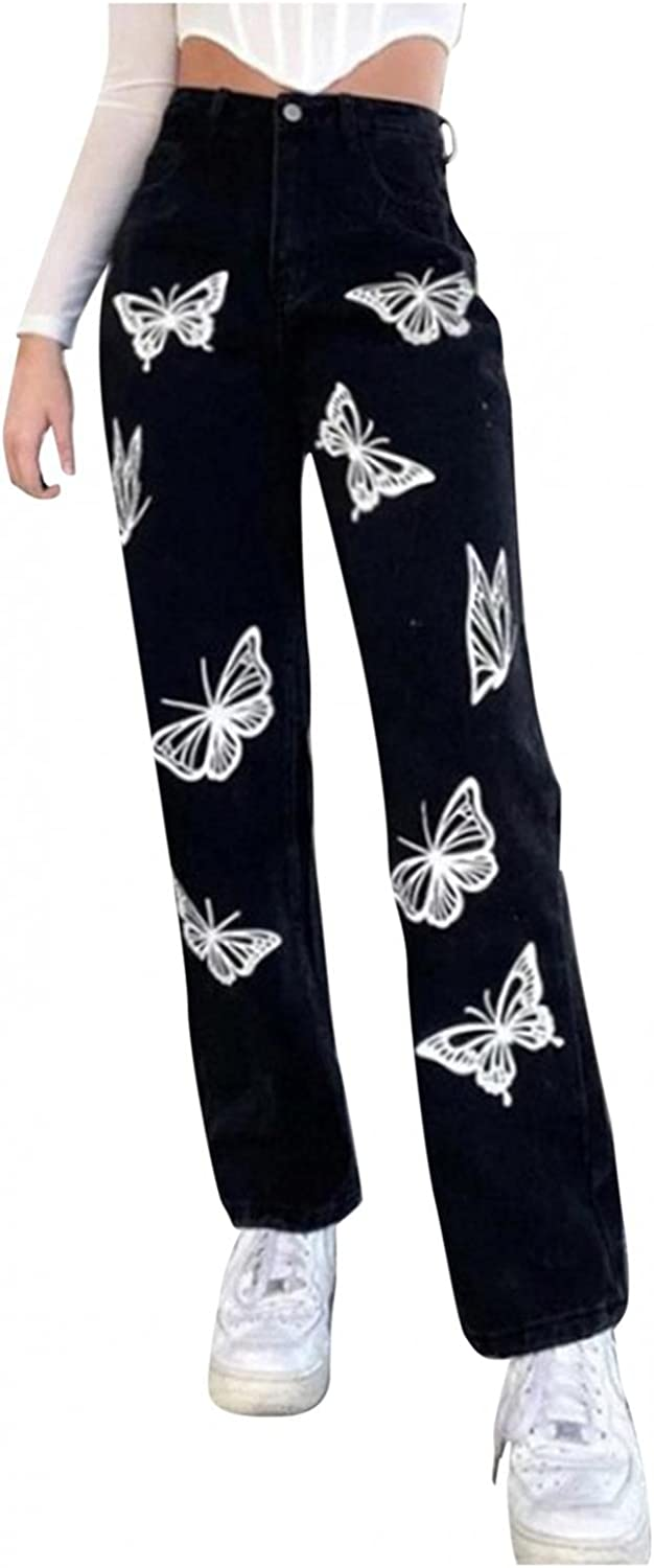 Larisalt Y2k Fashion Jeans for Women High Waisted Pants, Womens Butterfly Print Loose Jeans Wide Leg Straight Denim Pants