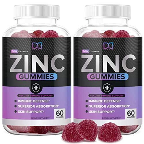 (120 Gummies) Zinc 50mg Supplements Chewable Gummies w Vitamin D3 Echinacea Vitamins for Adults Kids, Zinc Gummy for Immune System Support Alternative to Liquid Drops Lozenge Capsule, Package May Vary