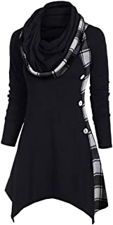 CCatyam Peplum Sweatshirt for Women, Cowl Neck Hoodie Sweatshirt Plaid Side Button Asymmetrical Shirt Pullover Top
