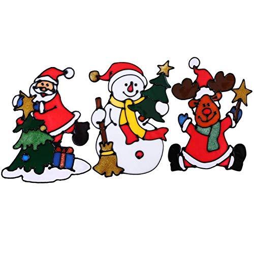 BLOUR Pegatinas de Vidrio de Silicona navideñas, Ventana Grande, Puerta, Pared, Adornos navideños pegados, decoración navideña, Herramienta de decoración de Año Nuevo