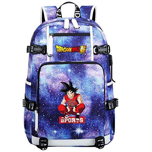 ZZGOO-LL Dragon Ball Son Goku/Vegeta IV/Torankusu Mochila de Anime Mochila de Escuela Secundaria para Estudiantes para Mujeres/Hombres con USB-B