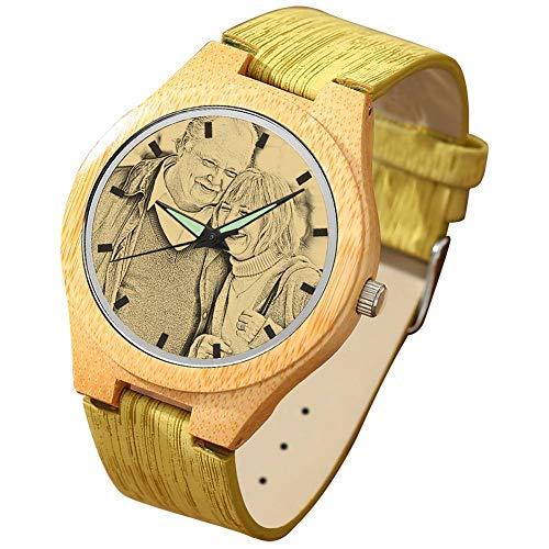SOUFEEL Reloj Madera Personalizado Foto y Grabado Punteros Luminosos Cuarzo con Correa Cuero Regalo Personalizado para Familia Hombre Mujer Amigo Pareja