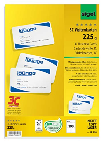 SIGEL LP798 Visitenkarten 3C, 100 Stück (10 Blatt), hochweiß, glatter Schnitt rundum, mit abgerundeten Ecken, 225 g, 85x55 mm - weitere Stückzahlen