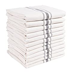 12 PACK: Set includes twelve cotton kitchen towels, each measuring 15x25 inches MULTI-PURPOSE: Cook, clean, bake, show off! These towels are an environmentally friendly alternative to paper towels. EASY CARE: Durable and easy-care machine washable; t...