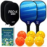 Scuddles Set Includes Pickleball Paddle Set of 2 Honeycomb Composite Core-Ultra Cushion Grip-Portable Cover Case-Carbon Fiber Surface-Lightweight Racket-Graphite Face-PaddlesRacket Bag and 6 Balls