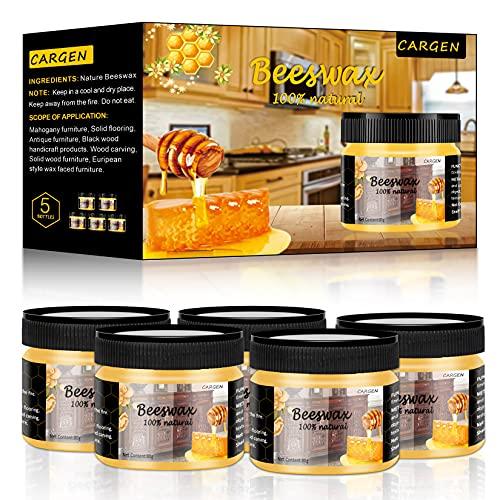Cera de abejas para muebles, cera de abeja, para muebles, cargen, cera de madera para comedor, sillas, armarios, para proteger y cuidar, 5 unidades de cera de abeja, 3 esponjas y 1 guantes de pulido