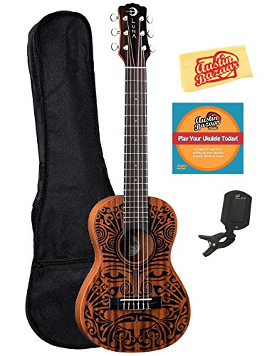 Luna Tribal 6-String Ukulele Bundle with Gig Bag, Tuner, Austin Bazaar Instructional DVD, and Polishing Cloth