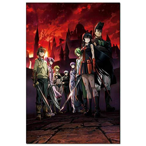 ZQXXX Akame Ga Kill Girl Katana Fight Anime imagen pintura pared arte cartel lienzo decoración del hogar cartel e impresiones -50x75cm sin marco