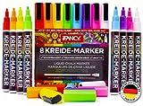 iFancy Premium Kreidestifte 8er-Set Bunte Farben - 3mm Rundspitze - 50% MEHR TINTE! - Abwischbar Ungiftig Fensterstifte Tafel