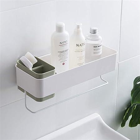 negro canasta de ducha XGzhsa Organizador de estantes de ba/ño estante para colgar autoadhesivo Potente estante organizador de almacenamiento montado en la pared para cocina y ba/ño