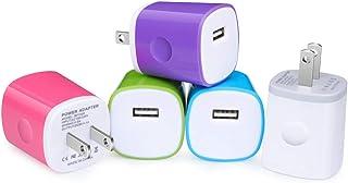 アイホン充電器 USB電源アダプター iPhone ACアダプター USB 充電器 5個セットカラフル ANNIBER USB コンセント スマホ充電器 アンドロイド充電 1ポート/軽量 コンパクト iPhone iPad Samsung Ga...