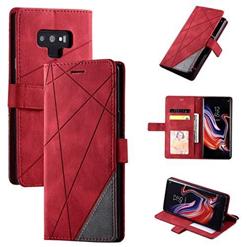 PHONETABLETCASE+ / Compatible with Compatible with SAMSUNG Galaxy Note9スキンフィールドスプライスホルダー&カードスロット&財布&フォトフレーム付きの水平フリップレザーケース 、耐衝撃性および耐スクラッチ防止カバー保護 (Color : 赤)