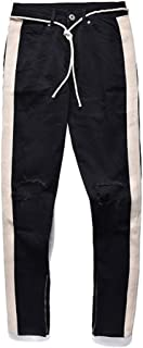 Knee Hole Side Zipper Distressed Jeans Men Justin Bieber Ripped Tore up Jeans