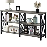 LVB Rustic Sofa Table, Farmhouse Console Table for Living Room, Hallway entryway Table with Storage, Entry Table for Foyer, 55 inch Grey Oak