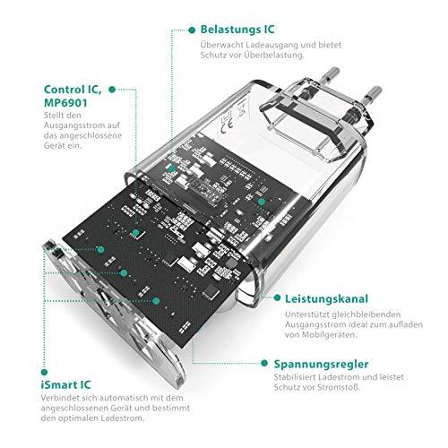RAVPower USB Ladegerät 30W 3 Port USB Netzteil 5V/6A USB Stecker mit iSmart Technologie für iPhone 11 Pro Max XS XR X 8/7/6, iPad, Galaxy S9 S8 Plus, LG, Huawei, HTC, Powerbank, MP3 usw. weiß