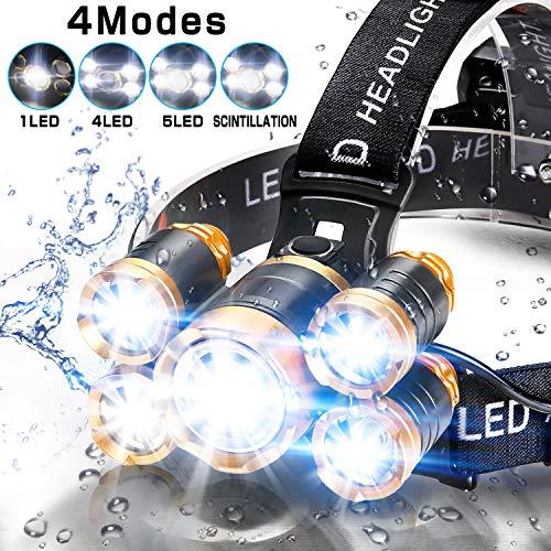 Headlamp Flashlight, Ultra Bright 5LED Headlight, USB Rechargeable Waterproof Headlight Flashlight, Perfect for Camping, hunting, running, hiking