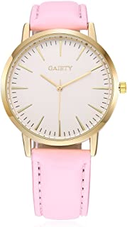 naivo Women's Quartz Watch with Gold Plated Stainless Steel Strap, Pink (Model: 1)