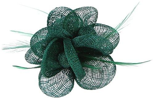 GEMVIE Tocado de Plumas Floral Mujer Broche Clip Decoración Boda Fiesta Headwear Verde