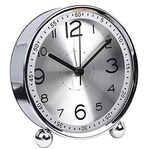 Reloj De Sobremesa, Reloj Pequeño De Metal Ultra Silencioso con Luz Nocturna, Reloj De Cuarzo De Estilo Retro Clásico, Escritorio, Armario, Mesita De Noche, Reloj Despertador De Viaje para Dormitori