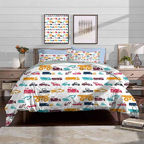 Bedding Duvet Cover Set Construction Washable Duvet Cover Set Collection of Heavy Trucks Vehicles Earthwork Operations Carrier Bulldozer Decorative 3 Piece Bedding Set with 2 Pillow Shams, Full Size