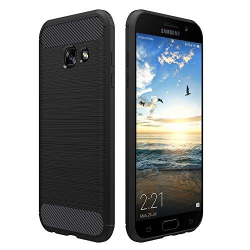 Simpeak Hülle Kompatibel für Samsung Galaxy A3 2017 [2 Jahre Garantie], Premium Weiche Karbonfaser Elastisch Schützendes Rückseiten-Hülle [Fallschutz] [rutschfest] [Kratzfest] - Schwarz