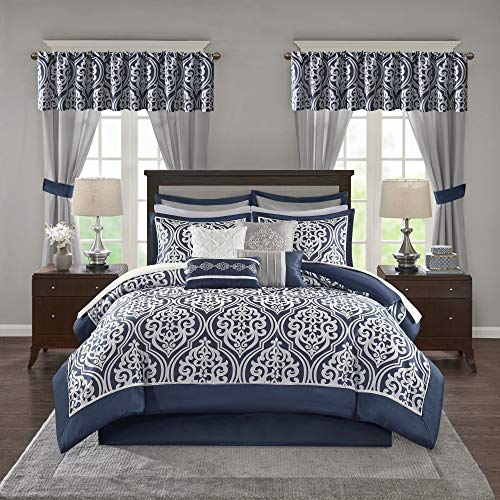 Madison Parkmadison Park Essentials Jordan Room In A Bag Faux Silk Comforter Luxe All Season Down Alternative Bed Set With Bedskirt Matching Curtains Decorative Pillows Cal King Grey 24 Pieces Dailymail