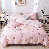 VM VOUGEMARKET Pink Strawberry Duvet Cover Full Queen Girls Bedding Set,Cute Fruit Printed Comforter Cover with 2 Pillowcases,Reversible Stripes Duvet Cover Set