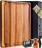 Large Wood Cutting Board with Handle - Butcher Block Cutting Board Wood Large Wooden Cutting Board Reversible Acacia Cutting Board Wood Cutting Boards for Kitchen Large Cheese Board Charcuterie Board