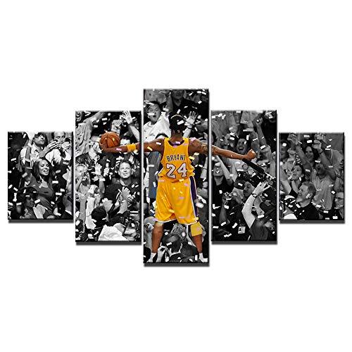 Kobe Bean Bryant Poster Kunstgemälde, 5-teiliges Leinwandbild, Kunstwerk, Wohnzimmer-Drucke, Wanddekoration, Dekoration, Holzrahmen, fertig zum Aufhängen (152,4 x 81,3 cm)